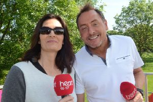 Kev Lawrence and Ros Webb hosting the Race For Life.
