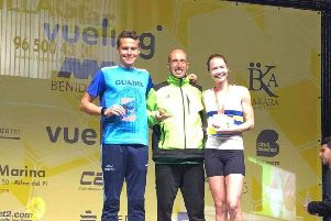 Daniella Hart (right) on the podium in Benidorm.