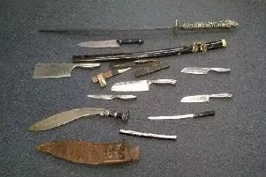 Weapons handed in during a previous knife amnesty in Cambridgeshire