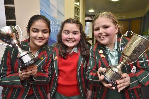Peterborough Drama Festival 2019 at the Salvation Army Citadel. The Peterborough School pupils Evie Jones-Molynenx, Maddolena Chiarizia and Zunera Fatima with their trophies EMN-190103-165637009