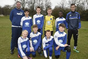 Bretton North End Under 12s are pictured before their 3-0 win over Oundle. From the left are, back,  Alex Riddell, Arnez Harrison, Ben Smith, Elliott Riddell, Gabriel Silva Embalo, Nathaniel Chivers, front,  Liam Jones, Leon Cruddace, Deacon Horn and Jack Sharp.