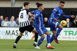 Dion Sembie-Ferris (right) scored for Peterborough Sports at Didcot Town.