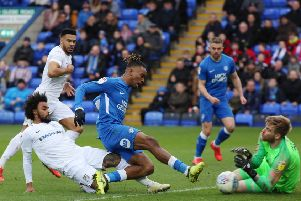 Posh striker Ivan Toney is thwarted by Coventry 'keeper Lee Burge. Photo: Joe Dent/theposh.com.