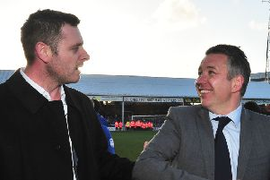 Posh chairman Darragh MacAnthony (left) and manager Darren Ferguson in 2014.