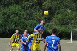 Moulton Harrox (blue) in action earlier this season.