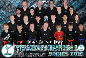 Hicks Karate School at the Peterborough Championship. From the left are, back, Darren Sindall, David Prior, Sarah Ward, David Cairns, third row, Kye Prior, Aaron Leonard, Casey Stone, Elise Ward, second row, Jolie Franks, Annie Dickson, Denas Jankauskas, Warren Bothamley, Shiv Panchal, Sophie Doyle, front, Archie Sindall, Tajus Jankauskas, Sophie Hicks, Lucy Hicks, Savannah Sindall, Joshua Leonard and Ravi Panchal.