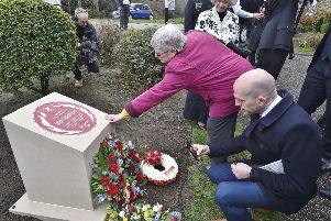 John Humphries memorial plaque unveiling at Bishop's Gardens. EMN-190322-134234009