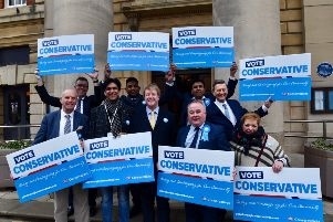 Conservative Party candidates and supporters outside the Town Hall