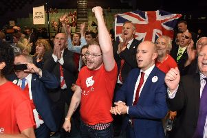 Brexiteers in Peterborough celebrate the news the city voted to Leave the EU