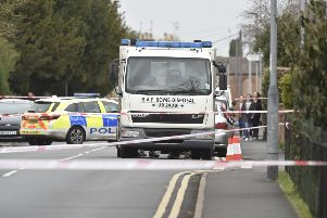 Bomb disposal squad at New Road, Woodston -  near the TA Centre, London Road EMN-190316-171624009