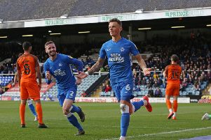 Ben White celebrates his goal for Posh against Southend. Photo: Joe Dent/theposh.com.