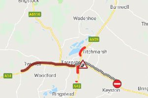 The A14 is blocked here