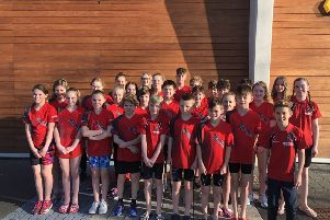 The victorious Deepings Swimming Club team competing at the Corby Swimming Club long course open meet