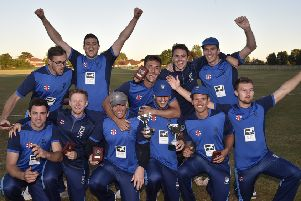 Bourne CC celebrate their 2018 Jaidka Cup Final win over Ramsey.