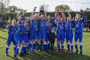 Posh Ladies celebrate their county cup triumph. Picture: Joe Dent