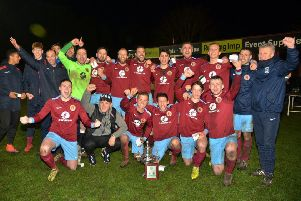 Deeping Rangers celebrate their Lincs Senior Trophy win.