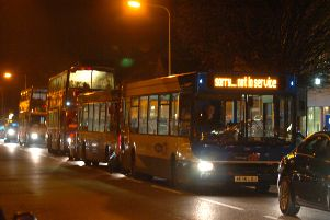 Stagecoach buses returning to the depot at the end of the day