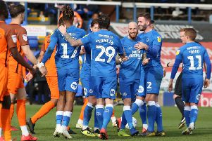 Marcus Maddison celebrates his brilliant free-kick goal against Southend last month.