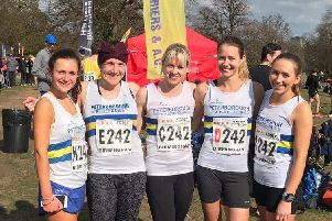 Peterborough AC runners who did well in the National Road Relays. From the left are Daniella Hart, Sarah Caskey, Wendy Perkins, Sophie Watson and Louise Morgan.