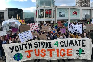 Children getting ready to march over climate change in Brighton