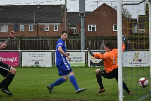 Josh Moreman scored for Deeping Rangers against Harborough Town.