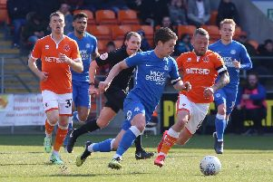 Alex Woodyard in action for Posh at Blackpool. Photo: Joe Dent/theposh.com.