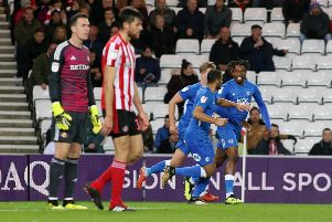 Posh players celebrate Ivan Toney's goal at Sunderland earlier this season.