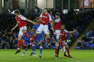 Action from Posh v Fleetwood.