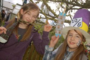 Sisters Daisy and Chloe Kenwood explore the sock orchard PHOTO: Tim Williams