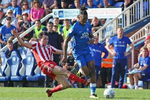 The 'horrendous' challenge on Posh substitute Ivan Toney by Sunderland's Luke O'Nien. Photo: Joe Dent/theposh.com.