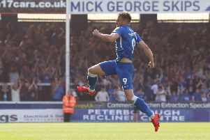 POsh striker Matt Godden celebrates his goal against Sunderland. Photo: Joe Dent/theposh.com.