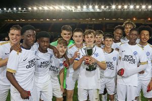 Posh Under 18s celebrate their cup final win. Picture: Joe Dent