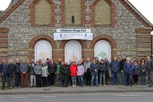The Chidham, Hambrook and Nutbourne East Residents Association (CHANE) Action Group outside Chidham Village Hall