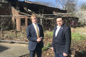 Paul Bristow and Scott Warren, Conservative councillor for Bretton, at the site of the former pub