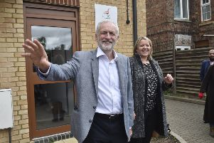 The Labour leader meets local party members and joins in with campaigning