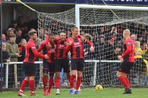 Kettering Town celebrate Aaron O'Connor's goal, which completed the scoring in their 5-1 victory over Stratford Town. Pictures by Peter Short