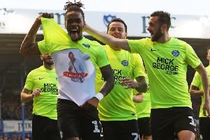 Posh striker Ivan Toney shows off his dedication to a late friend after scoring at Portsmouth. Photo: Joe Dent/theposh.com.
