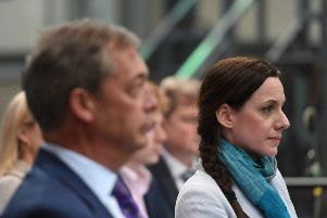 Nigel Farage and Annunziata Rees-Mogg at the launch of the Brexit Party's European Parliament elections campaign (Photo: PA)