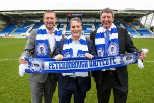Posh co-owners from left Darragh MacAnthony, Stewart 'Randy' Thompson, Dr Jason Neale.