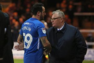 Former Posh boss Steve Evans with Lee Tomlin.