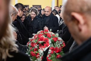 The funeral at Our Lady of Lourdes Catholic Church