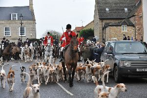 The Fitzwilliam Hunt Boxing Day meet from the Bell at Stilton. Leading the hounds is the whipper in George Adams EMN-141226-140513009