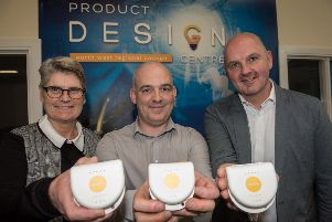CinchORTHO's Judy Purvis, with Philip Devlin, Manager, Product Design centre, North West Regional College. and William Purvis, CinchORTHO. (picture Martin McKeown).
