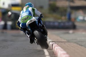 Dean Harrison led the way in the Superbike class on the Silicone Engineering Kawasaki on Tuesday at the North West 200.