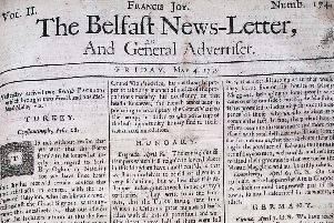 The front page of the Belfast News Letter of May 4 1739 (which is May 15 in the modern calendar)