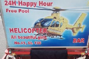 The advert including the air ambulance. Photo: East Anglian Air Ambulance