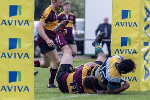 Peterborough Lions player Suva Ma'asi scores a try for the East Midlands against Leicestershire. Photo: Mick Sutterby, mick@picturethisphotography.