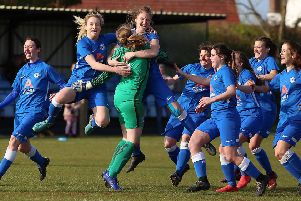 Posh Ladies celebrate their Northants County Cup success. Photo: Joe Dent/theposh.com.