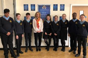 Clare Connor and students at Sawtry Village Academy.
