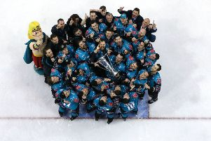 Belfast Giants pictured with the Elite Ice Hockey League trophy